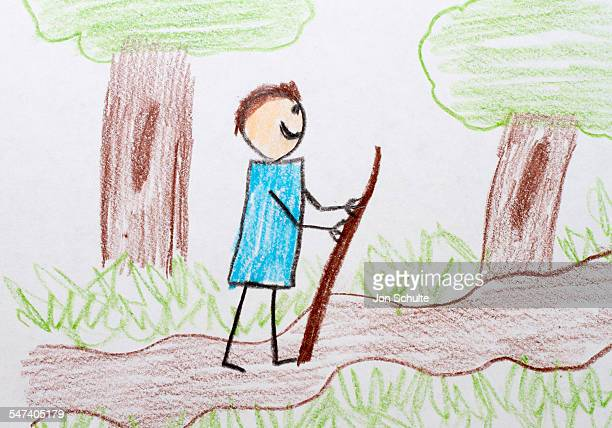 Kids drawing of hiker