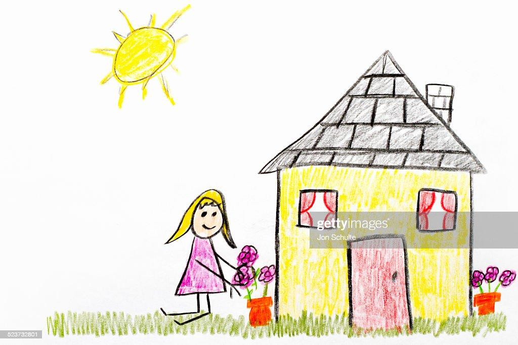 Kids drawing of home garden : Foto de stock