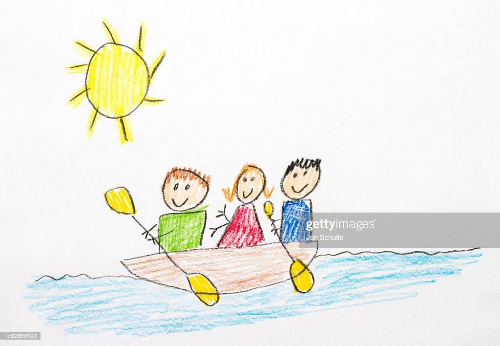 Kids Drawing Of Kayaking Stock Photo