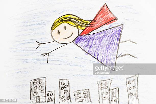 Kids Drawing of Super Hero Girl