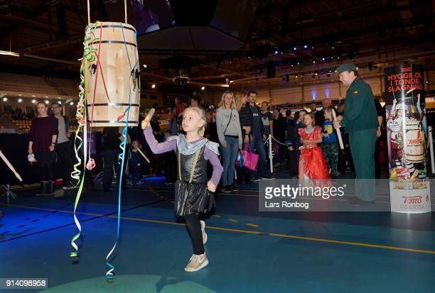 Kids during the Fastelavn on day four of the Bilka Six Day Copenhagen bike race at Ballerup Super Arena on February 4 2018 in Copenhagen Denmark