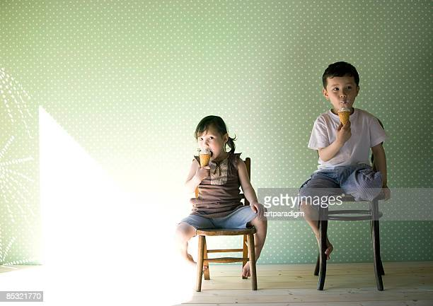 Kids eating an ice cream