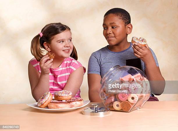 Kids eating unhealthy food
