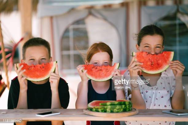 kids eating watermelon on beach holiday - watermelon stock pictures, royalty-free photos & images