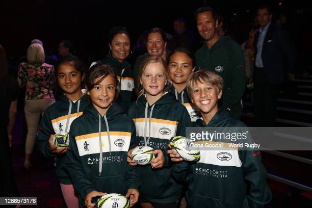 Kids enjoy the show during the Rugby World Cup 2021 Draw event at the SKYCITY Theatre on November 20, 2020 in Auckland, New Zealand.