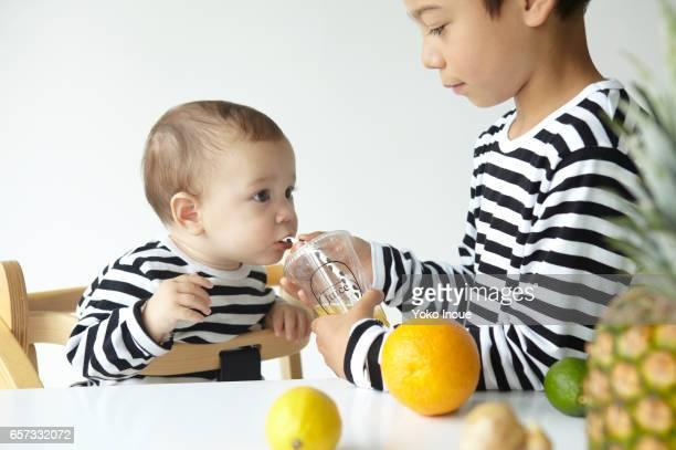Kids enjoying fresh juice