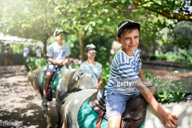 miúdos que apreciam pôneis de equitação. - montar - fotografias e filmes do acervo