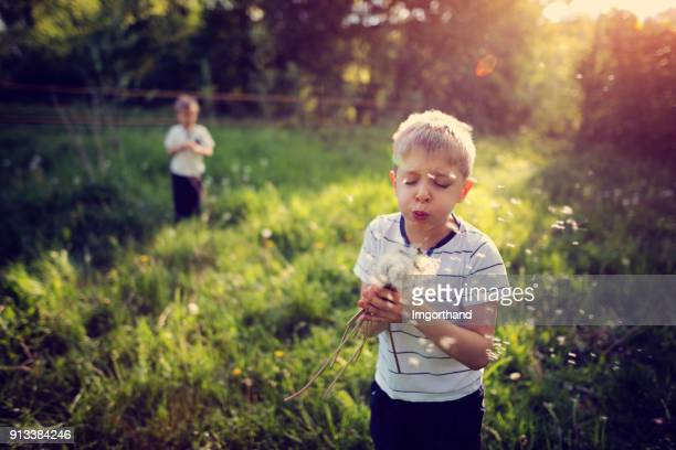 Kids enjoying spring dandelions