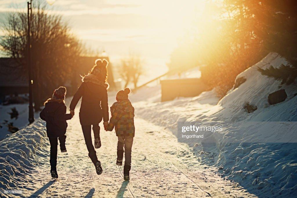 Kids enjoying winter : Stock Photo