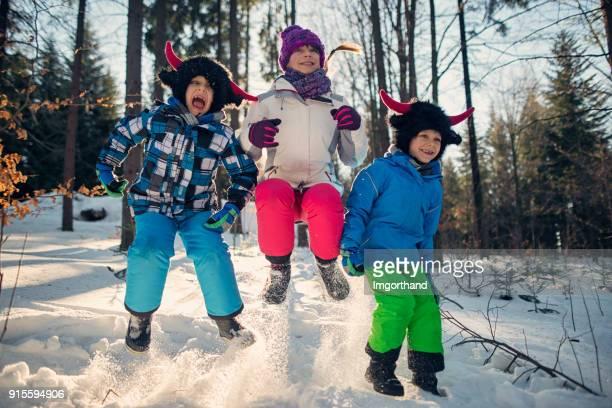 Kids enjoying winter