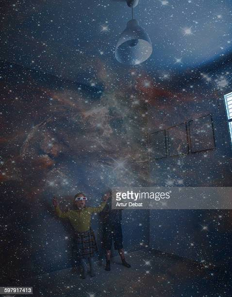 kids exploring the space with stars from home - 6 point star stock pictures, royalty-free photos & images