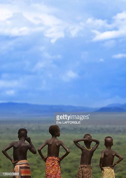 Kids from Karo tribe on Korcho village in Ethiopia on October 29 2008 The Karo with a population of about 1000 1500 live on the east banks of the Omo...