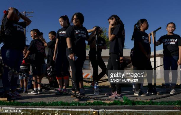 Kids from Sparta Boxing Gym where Ruiz trained stand on a float before a homecoming parade for Heavyweight boxing champion Andy Ruiz Jr on June 22...