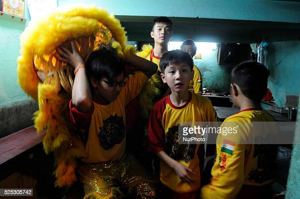 Kids getting ready before their lion dance performance during the Chinese New Year celebration 2015 in Kolkata, India on February 18, 2015. Chinese...