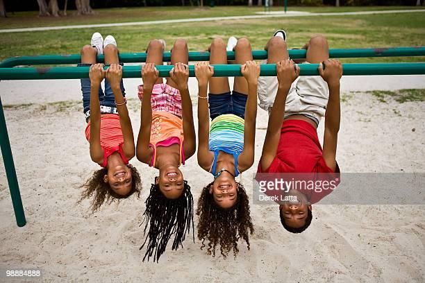 Kids hanging upside-down