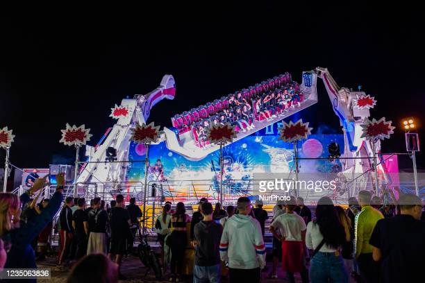 Kids have fun on one of the most popular attractions, on the first day of the Luna Park opening in Molfetta on 4 September 2021. On the occasion of...
