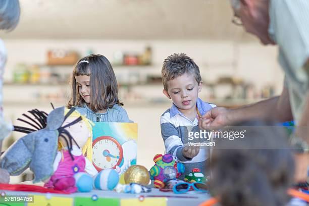 Kids having a garage sale