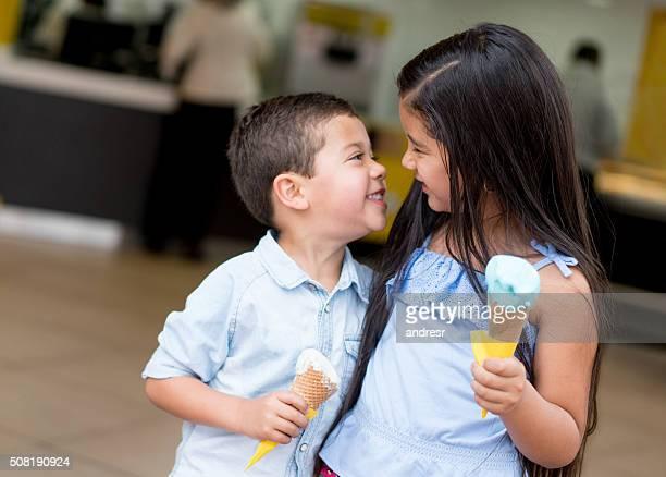 Kids having an ice cream