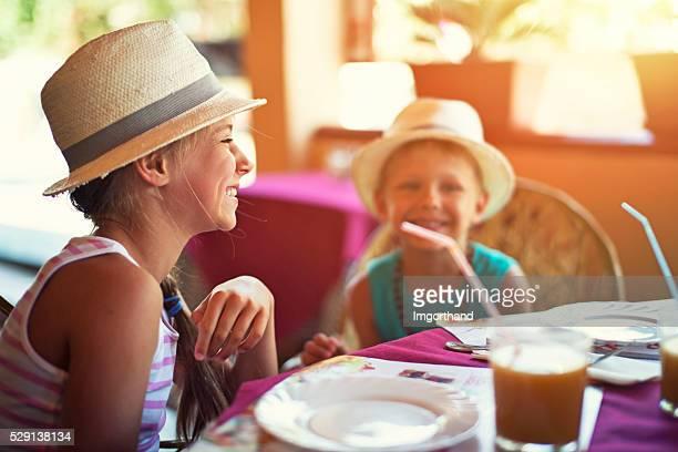 Kids having fun at a restaurant