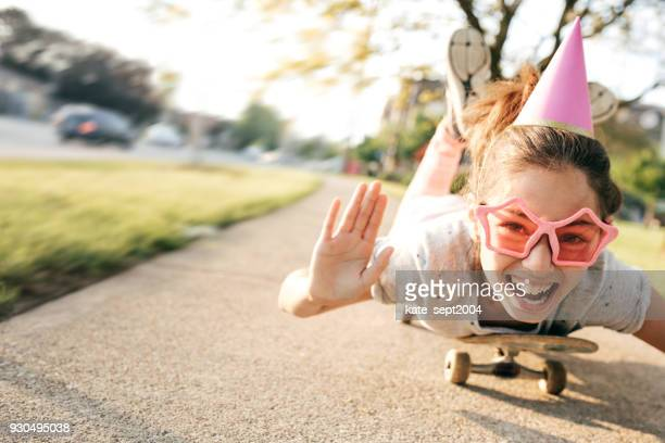 kids having fun on birthday party - happy birthday canada stock pictures, royalty-free photos & images