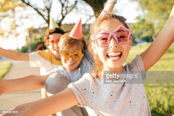 kids having fun - happy birthday canada stock pictures, royalty-free photos & images