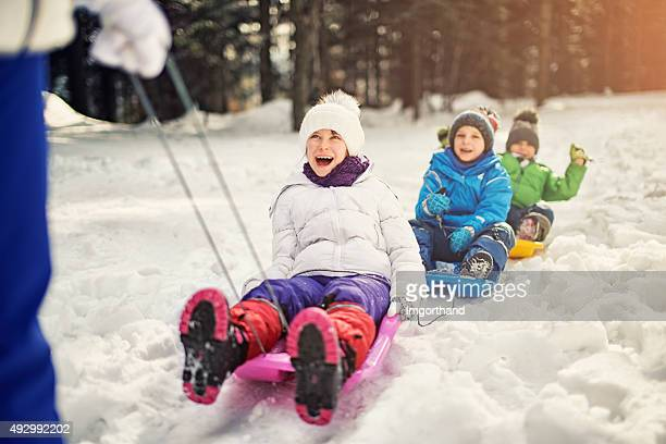 Kids having fun pulled on sleds in winter forest.