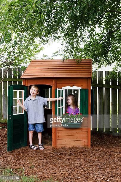 Kids Having Fun with Playhouse