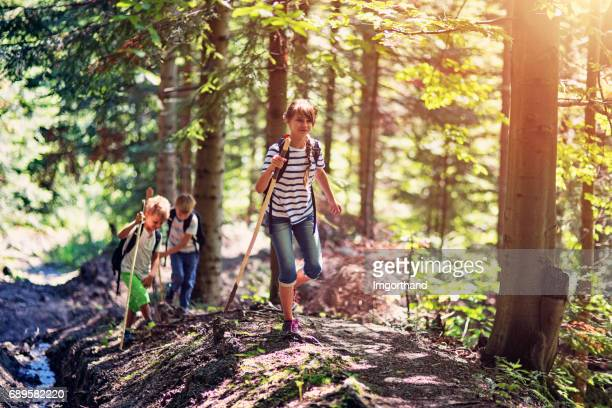 Kids hiking in a sunny forest