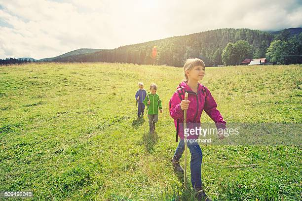 kids hiking through the grass field - zakopane stock pictures, royalty-free photos & images