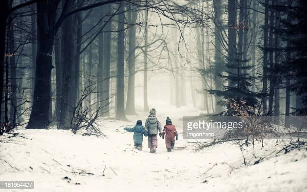 Kinder in misty forest