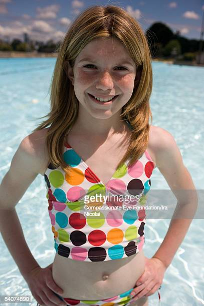 kids in the pool - redhead girl stock photos and pictures