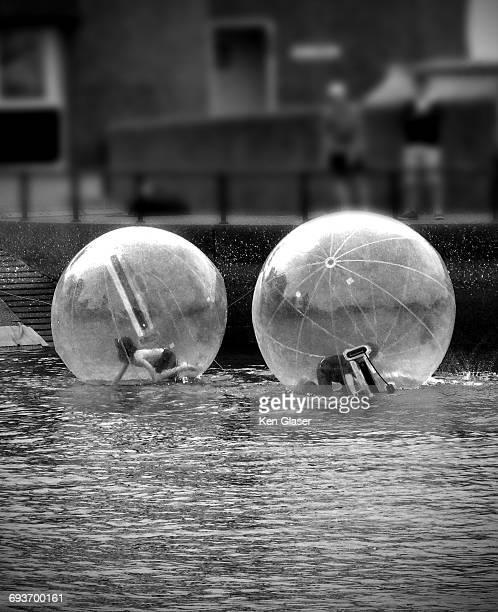 Kids Inside Floating Bubles