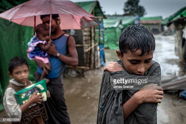 Kids inside of the IDP camps in Sittwe/ MyanmarÊ May 24 2015 in Sittwe Burma Since 2012 the minority group of the Rohingya people are forced to live...