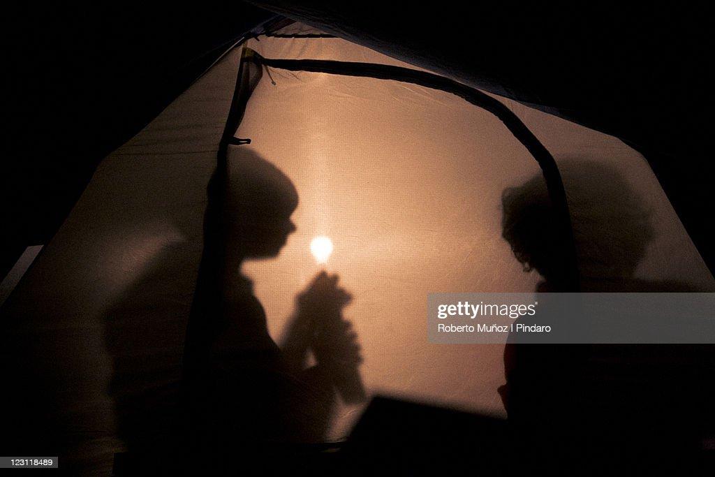 kids inside tent : Stock Photo