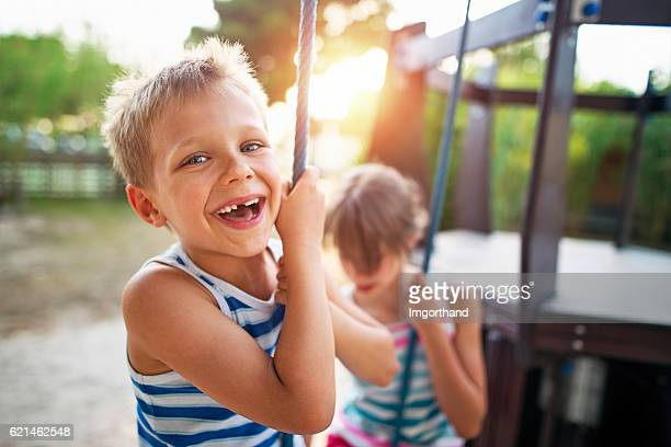 Kids laughing at the playground