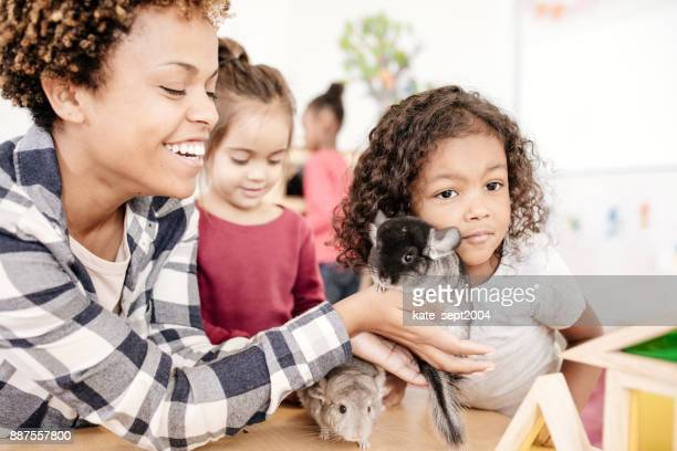 Kids learning about domestic animals
