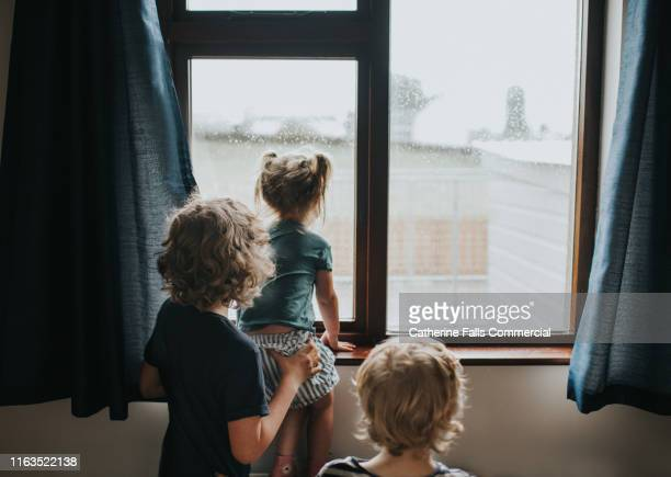 kids looking out a window - looking stock pictures, royalty-free photos & images