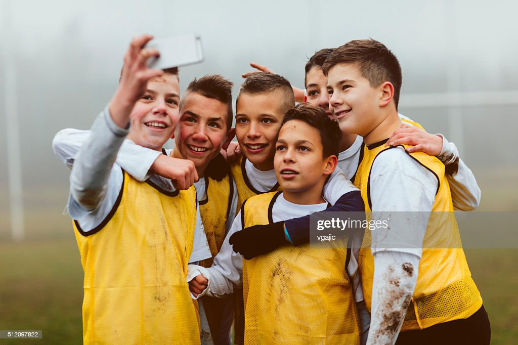 Kids Making Selfie After Playing Soccer. : Stock Photo