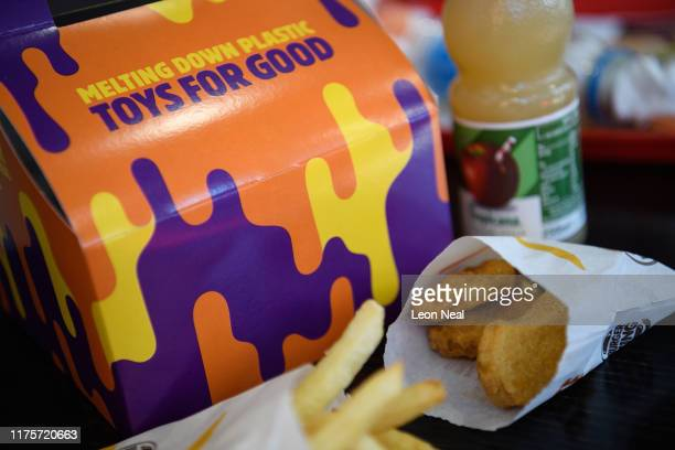 A kids meal box advertising the Burger King 'Meltdown promotion which has seen the chain remove plastic toys from their children's meal deals is seen...