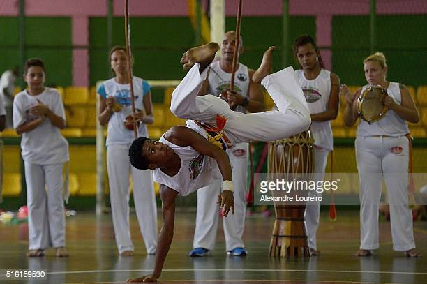 Kids of the Mangueira community during capoeira presentation in the New Zealand Olympic Team announcement at the Centro de Referência Esportiva at...