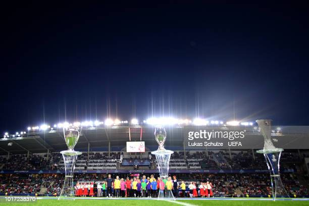 Kids of the UEFA Foundation look on ahead of the UEFA Super Cup between Real Madrid and Atletico Madrid at Lillekula Stadium on August 15 2018 in...
