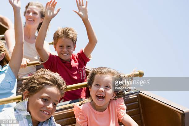 Kids on a roller coaster