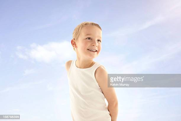 kids on sky - sleeveless top stock pictures, royalty-free photos & images