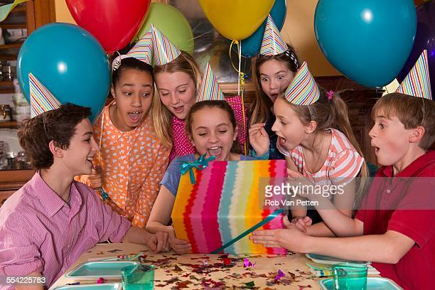Kids Opening Presents at Birthday Party
