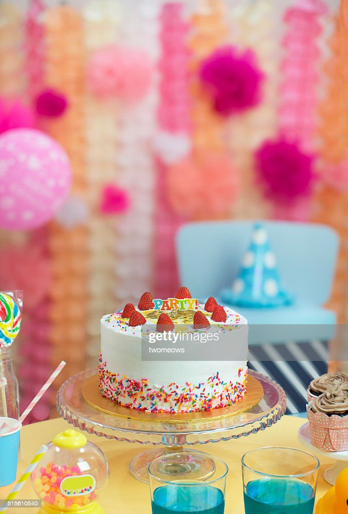 Stupendous Kids Or Children Birthday Cake Party Table Top Shot High Res Stock Personalised Birthday Cards Veneteletsinfo
