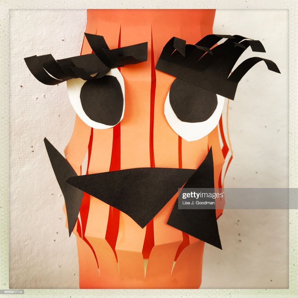 Kids Paper Pumpkin Decoration For Halloween Stock Photo Getty Images