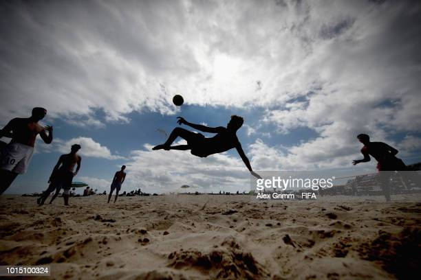 UST 11 Kids play football at La Grande Plage beach during the FIFA U20 Women's World Cup France 2018 on August 11 2018 in Quiberon France