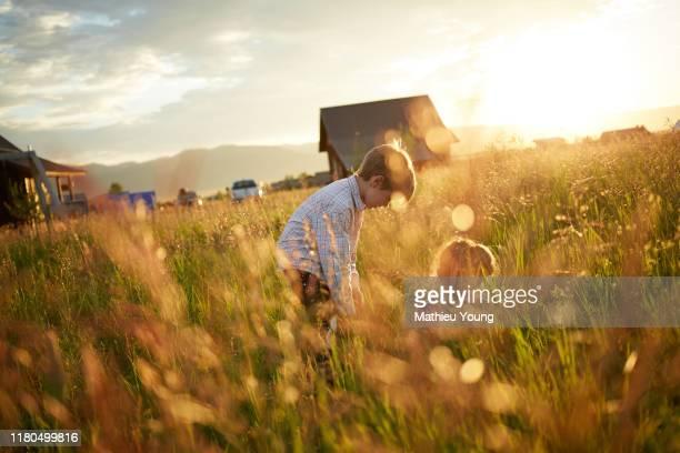 Kids play in field