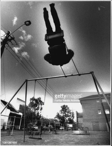 Kids playgroundsOld style in NewtownOn The Roundabout Metal Anal 7 of Canterbury on a Spring Toy July 5 1990
