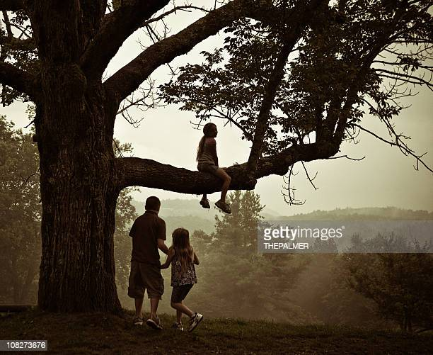 kids playing around an old tree - sepia stock pictures, royalty-free photos & images